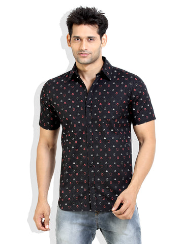 London Bee Men's Black Cotton Smile Print Short Sleeve Slim Fit Shirt MSSLB0007