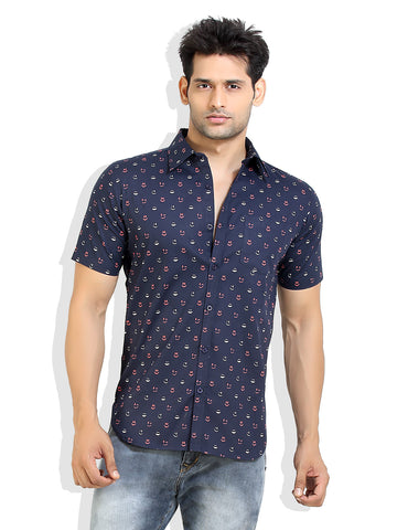 London Bee Men's Navy Blue Cotton Smile Print Short Sleeve Slim Fit Shirt MSSLB0008