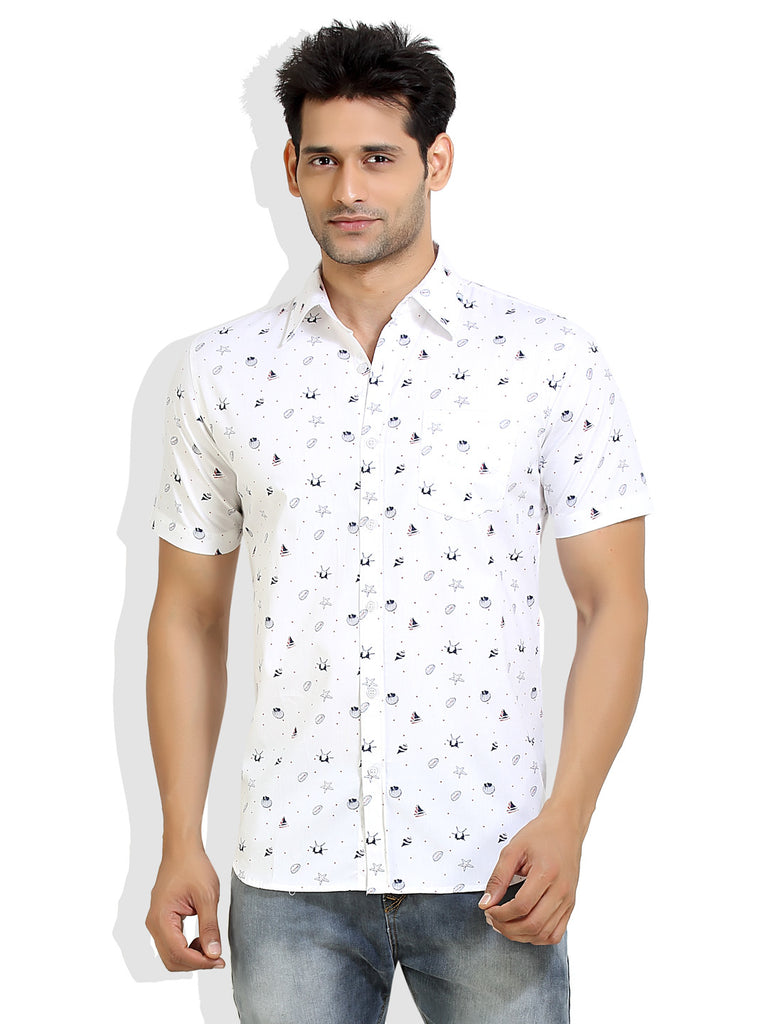 London Bee Men s White Cotton Shell Print Short Sleeve Slim Fit Shirt  MSSLB0009 fdd74975e120