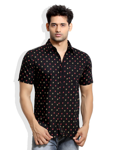 London Bee Men's Black Cotton Japan Print Short Sleeve Slim Fit Shirt MSSLB0010