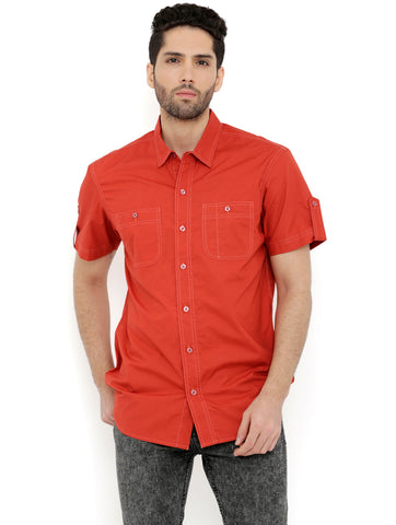 London Bee Men's Rust Cotton Solid Short Sleeve Regular Fit Shirt MSSLB0100
