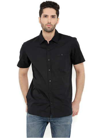 London Bee Men's Black Cotton Solid Short Sleeve Regular Fit Shirt MSSLB0101
