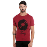 London Bee Men's Burgandy Printed Short Sleeve T-shirt MSTLB0002
