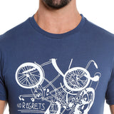 London Bee Men's Navy Blue Printed Short Sleeve T-shirt MSTLB0004