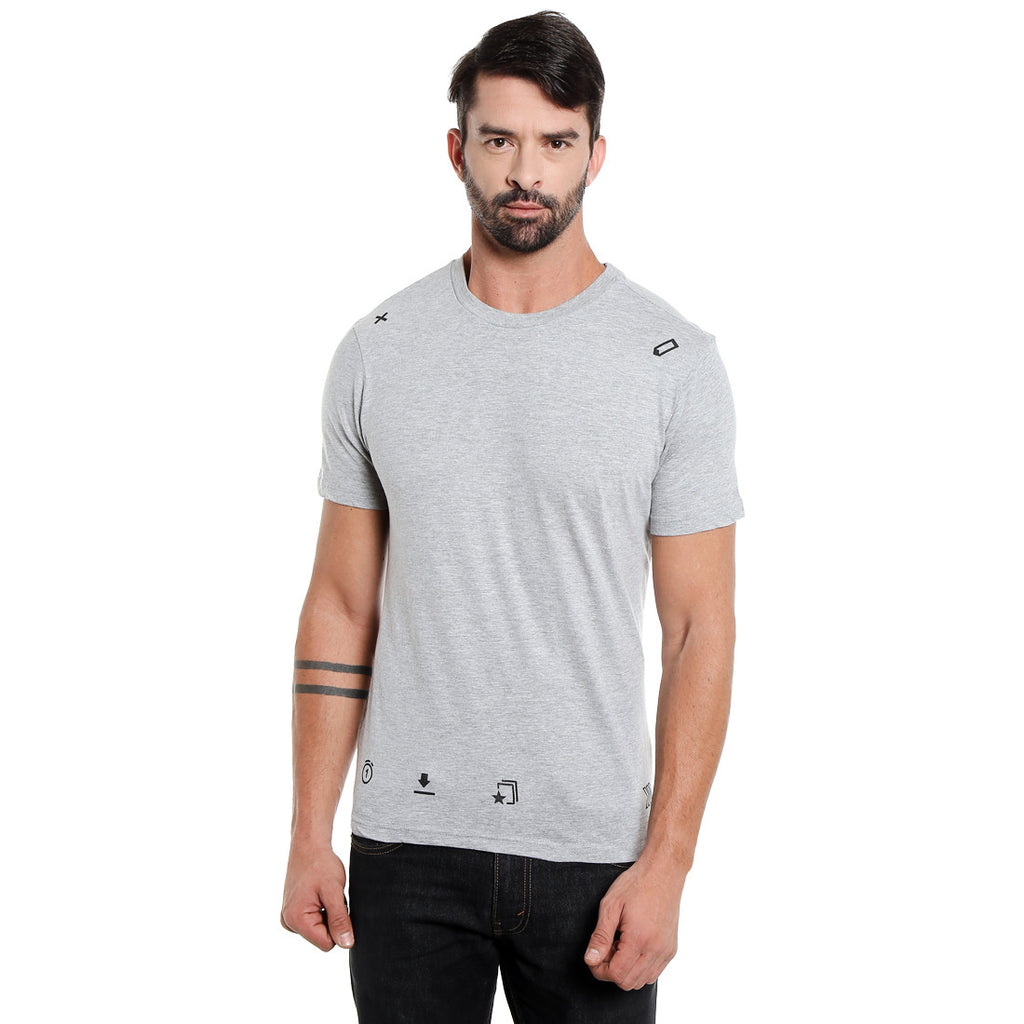 London Bee Men's Light Grey Printed Short Sleeve T-shirt MSTLB0008
