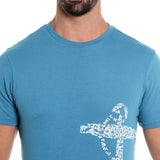 London Bee Men's Blue Printed Short Sleeve T-shirt MSTLB0010