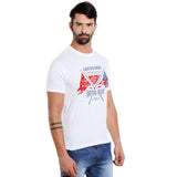 London Bee Men's White Printed Short Sleeve T-shirt MSTLB0014