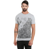 London Bee Men's Light Grey Printed Short Sleeve T-shirt MSTLB0016