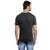 London Bee Men's Dark Grey Printed Short Sleeve T-shirt MSTLB0017