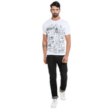 London Bee Men's White Printed Short Sleeve T-shirt MSTLB0018