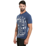 London Bee Men's Navy Blue Printed Short Sleeve T-shirt MSTLB0019