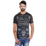 London Bee Men's Dark Grey Printed Short Sleeve T-shirt MSTLB0021