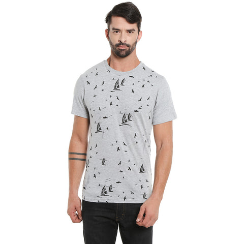 London Bee Men's Light Grey Printed Short Sleeve T-shirt MSTLB0026