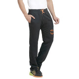 Men's Black Cotton Trackpant With Embroidery