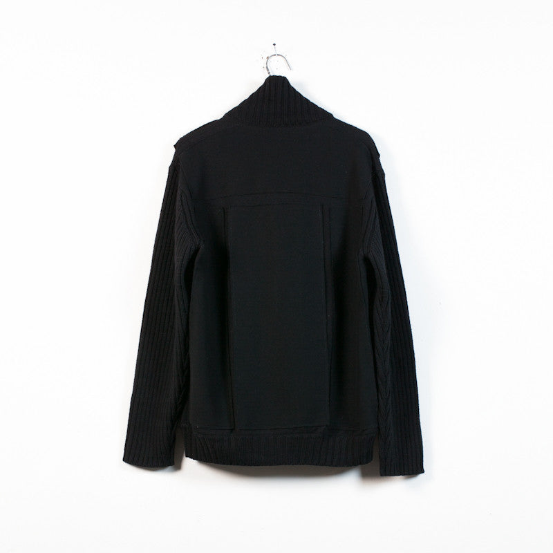felt panel knit blouson