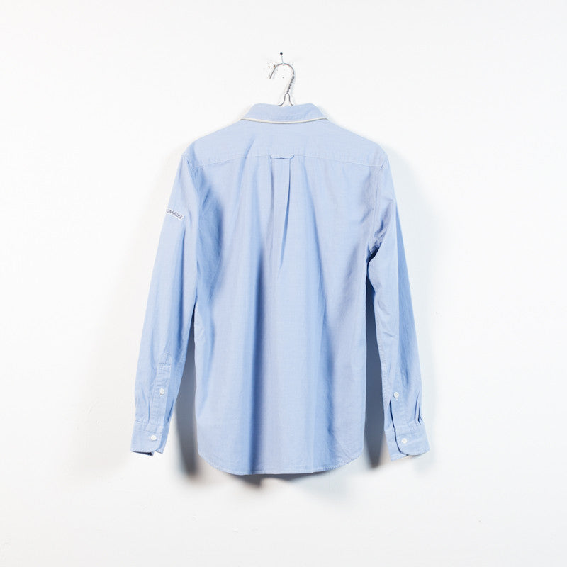 blue chambray zip collar shirt