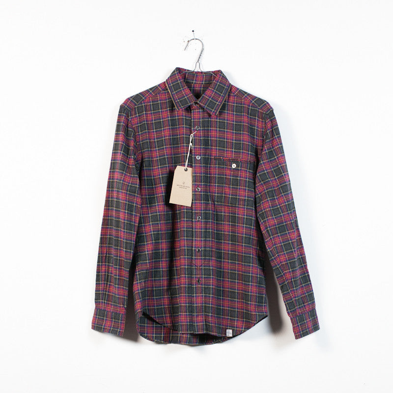 maroon flannel zip collar shirt