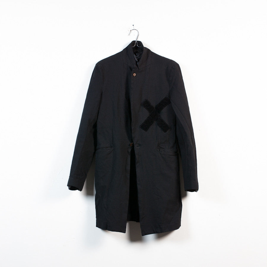 cross detail boiled poly coat