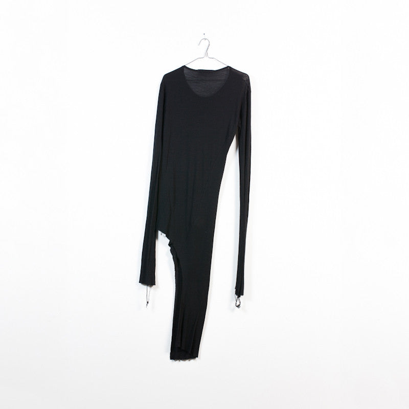 long asymmetrical rib knit