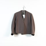 collarless wool cocoon jacket