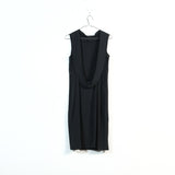 low back draped sleeveless dress