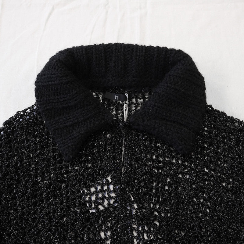 sheer lace knit collar blouse