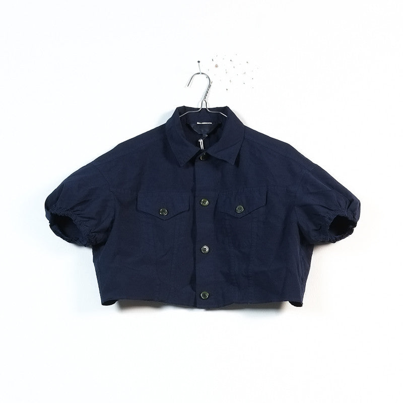 boiled polyester cropped blouson