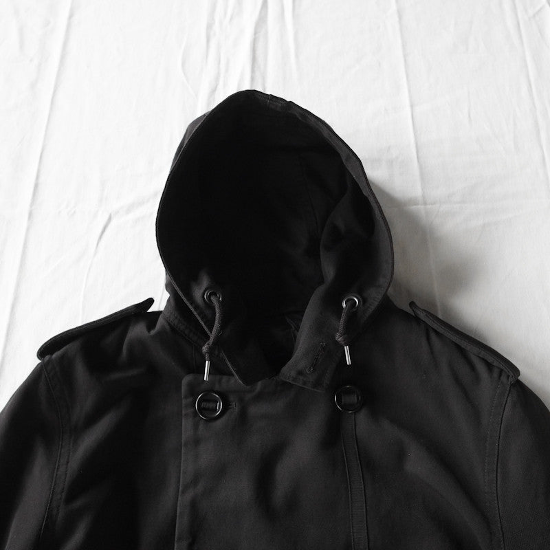 double breasted hooded parka