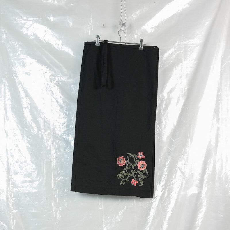 floral embroidered suspender skirt