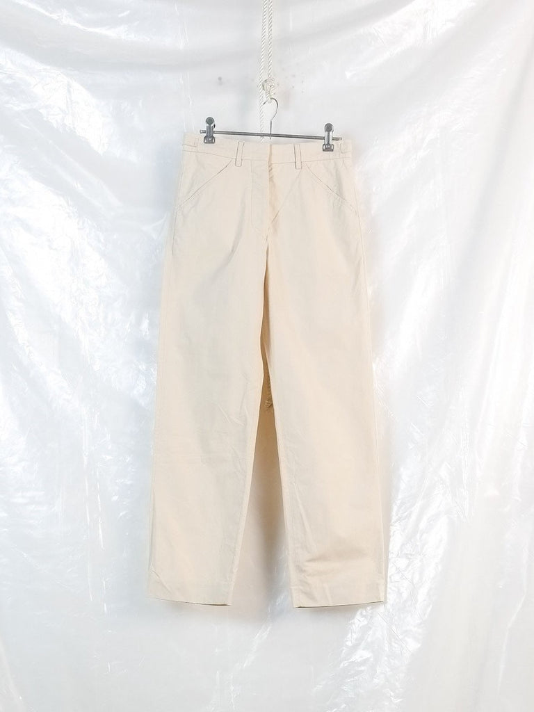tab waist slash pocket trousers