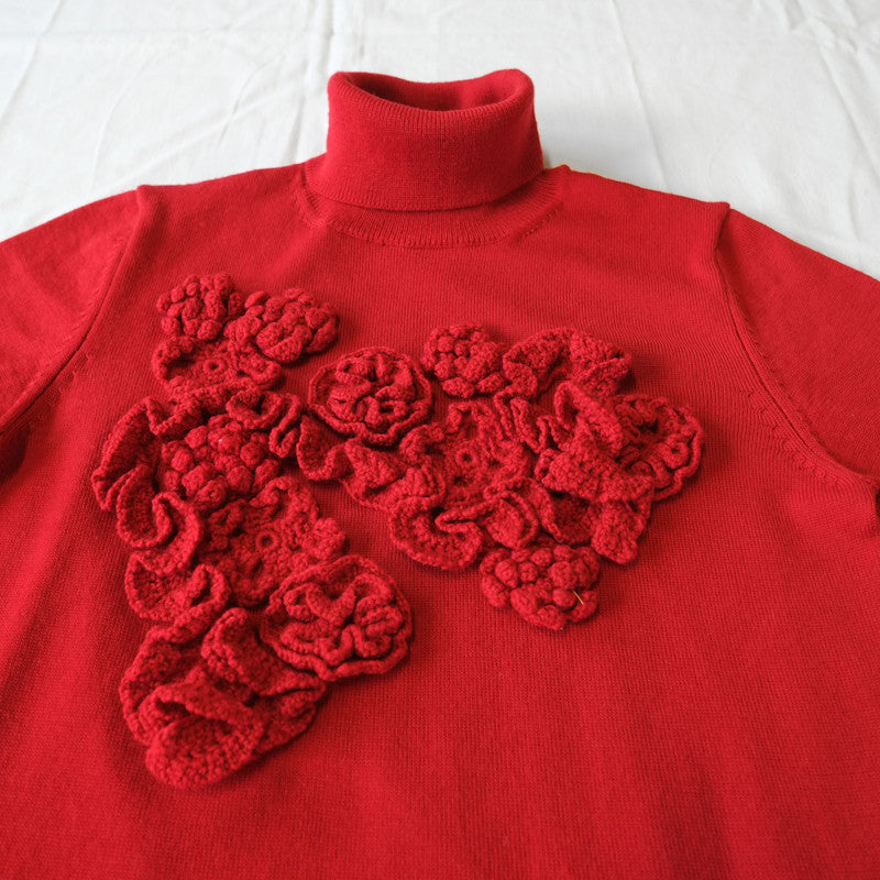 floral crochet turtleneck sweater