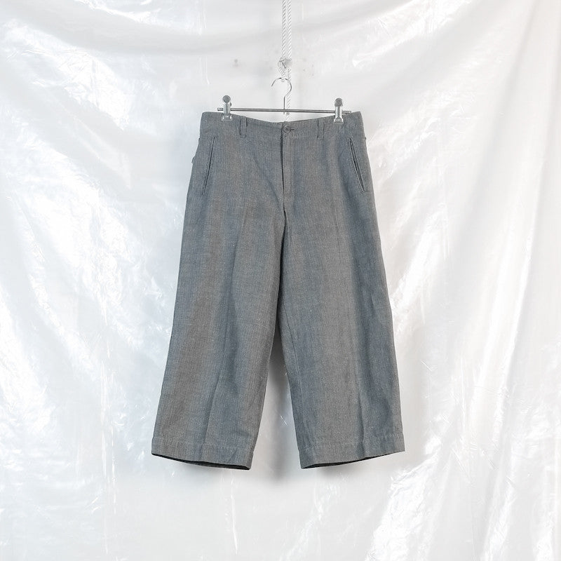 linen stripe cropped pants