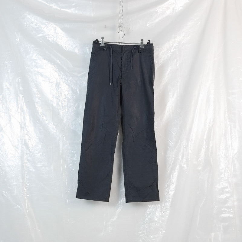 drawstring waist coated trousers