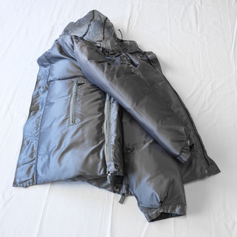 hooded high neck down jacket