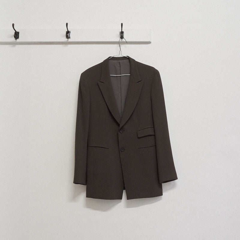 two button peak lapel blazer