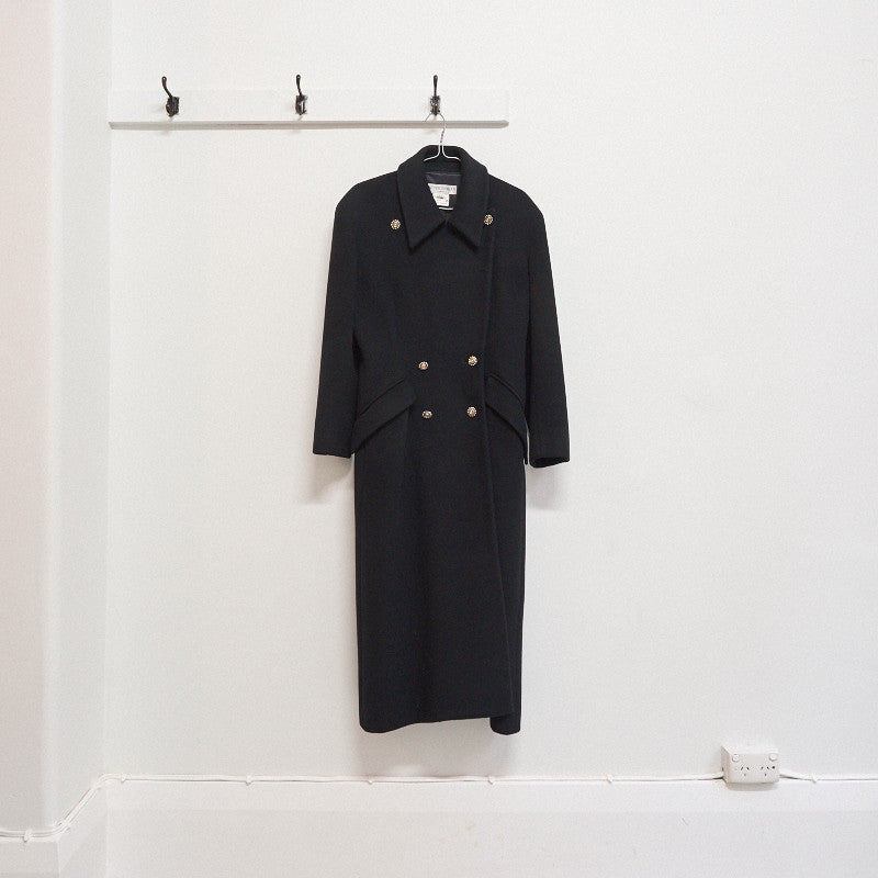 jasper conran heavy melton double breasted overcoat - circa 1980s