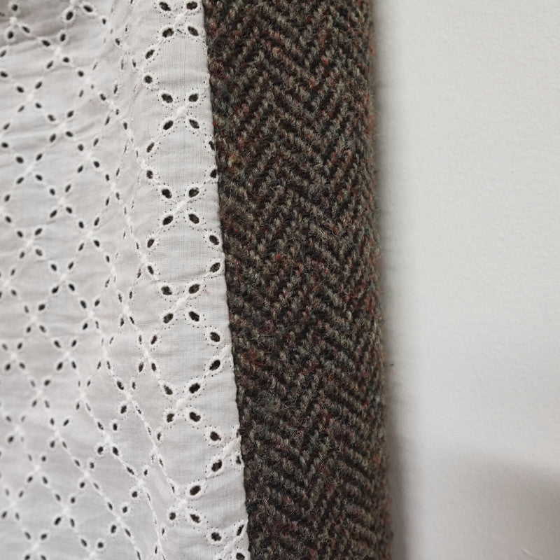 layered lace / tweed skirt