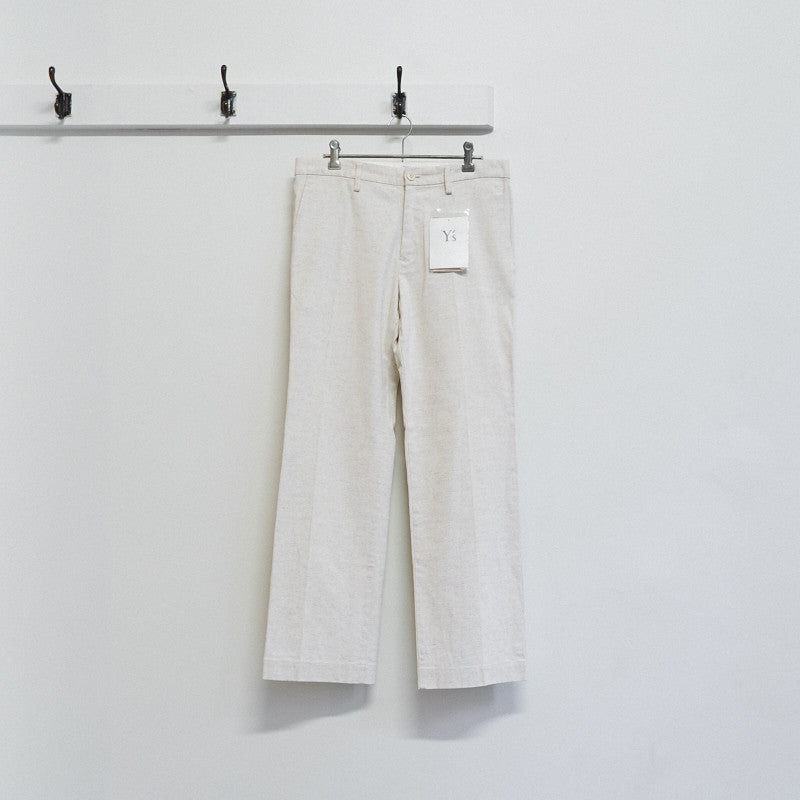 off white woven trousers