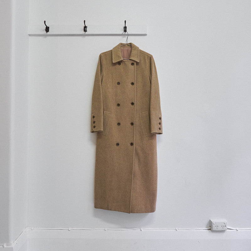 double breasted melton overcoat