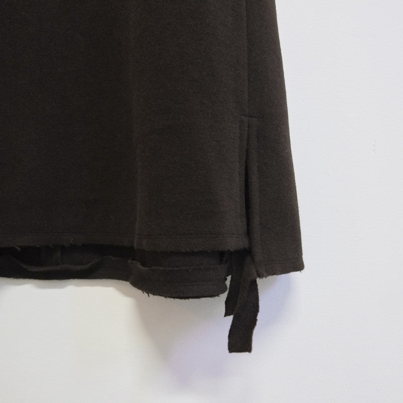 wool fleece raw band skirt
