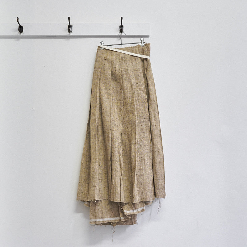 raw silk pleated wrap skirt