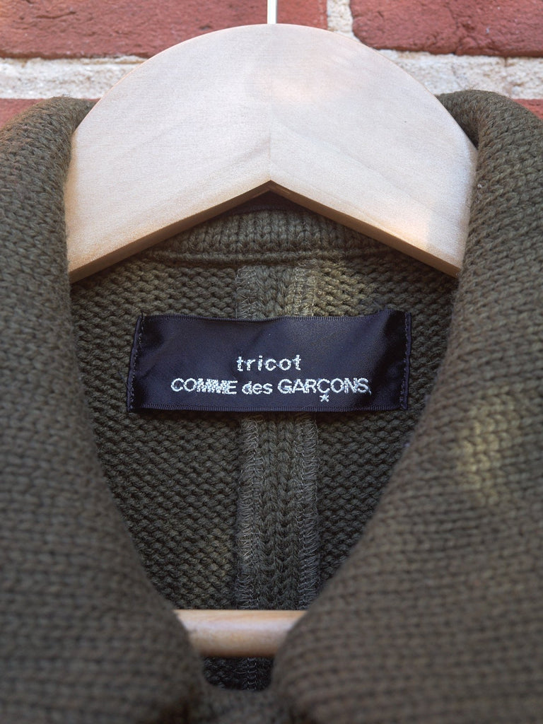 Tricot Comme des Garcons 1996 khaki brown wool heavy knit coat - womens M S