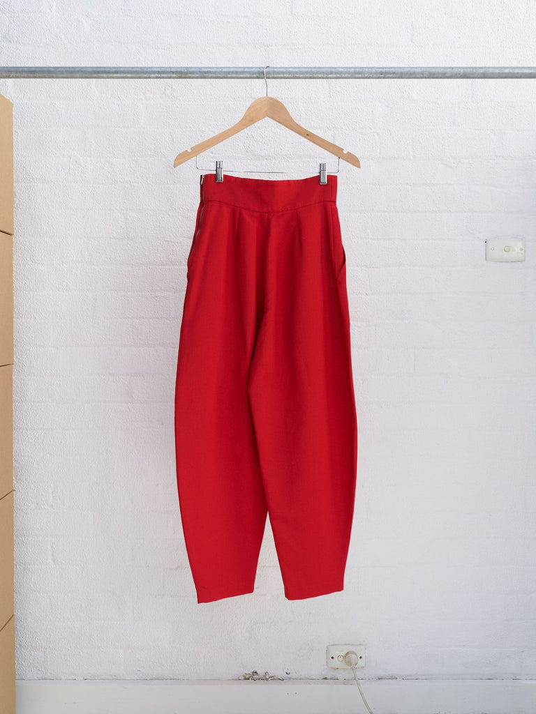 Jasper Conran 1980s red grosgrain tapered balloon trousers - womens 10 8