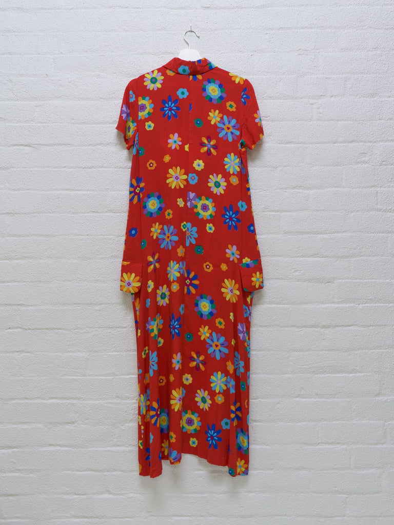 Comme des Garcons 1996 red rayon floral print maxi dress - womens M S