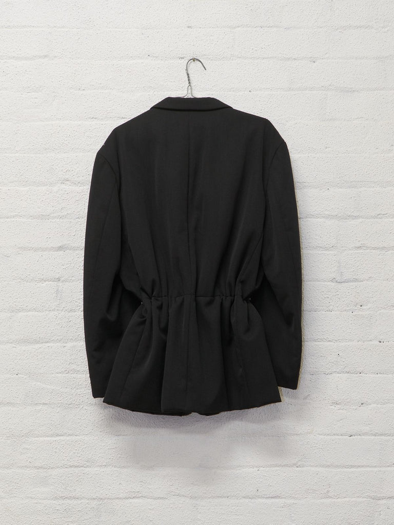 Comme des Garcons Homme 1991 black padded wool 3 button drawstring blazer - sz M