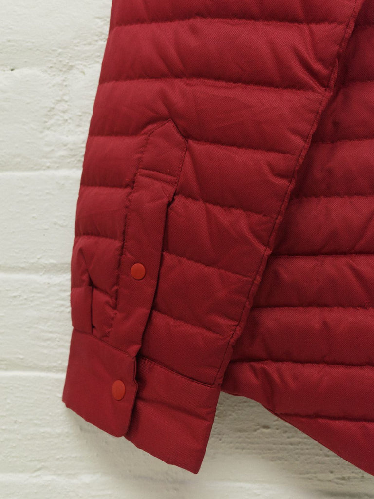 Issey Miyake red polyester quilted packable puffer shirt jacket - mens M S