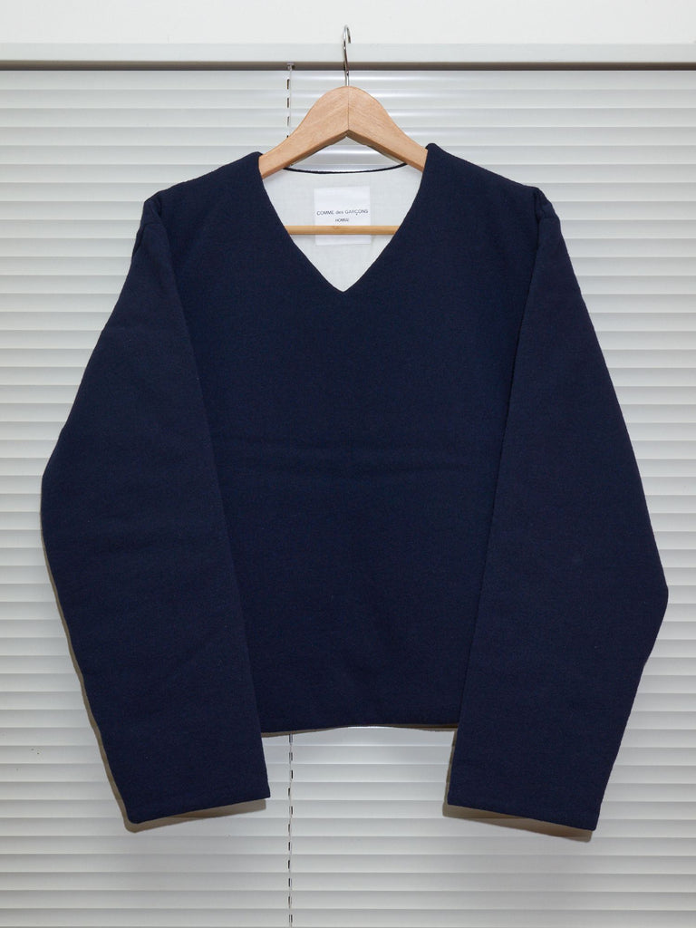 Comme des Garcons Homme 1997 navy wool jersey padded v neck sweater - mens M S