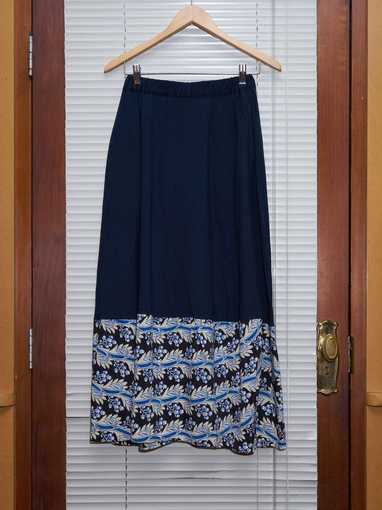 Comme des Garcons 1992 navy cotton jersey floral pattern hem panel skirt - sz M