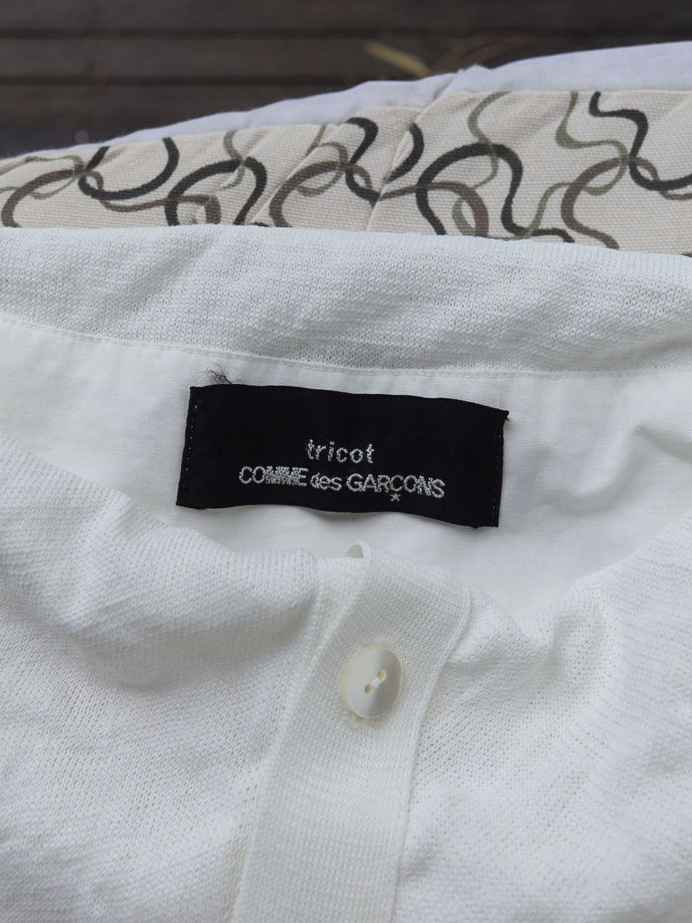 Tricot Comme des Garcons 1997 white layered short sleeve cardigan dress - sz S M