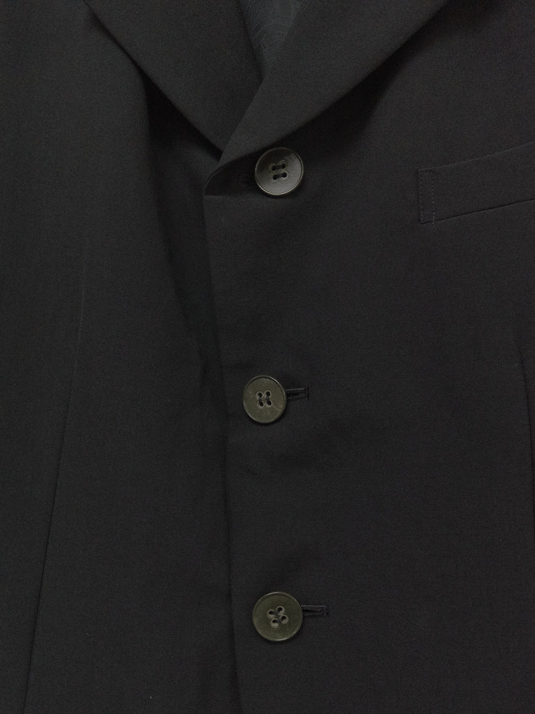 comme des garcons black wool back tuck floral lining 3 button coat - AW 1992